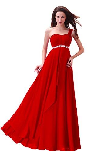 Mariée _ Cool Femme edg121086robe de soirée longue en mousseline de soie Rouge