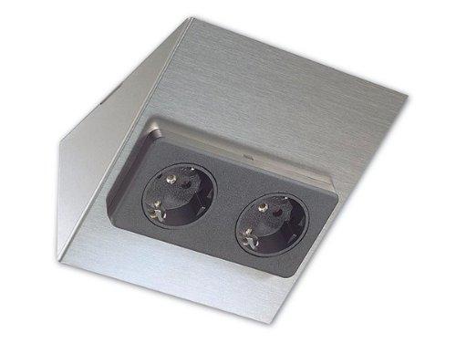 Heitronic Rechteck-Doppelsteckdose aus Edelstahl