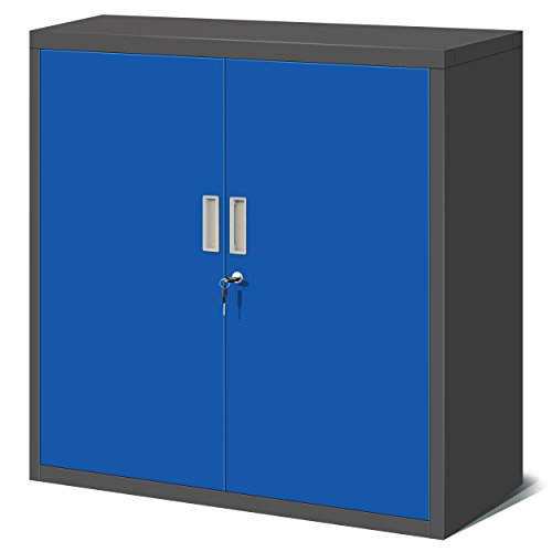 Blauer Aktenschrank - abschliessbarer blauer Metallschrank