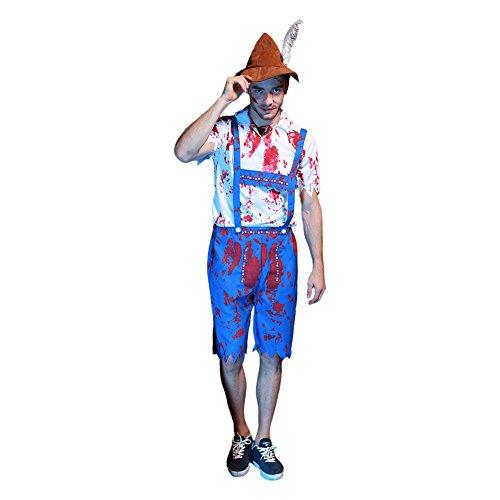 Halloween Herren Mörder Kostüm Zombie blutig (Kostüm Schuljunge Halloween)