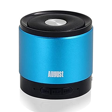 Portable Bluetooth Wireless Speaker - August MS425 - Enjoy Great Sound and Hands-Free Calling from your Phone and Tablet [Blue]