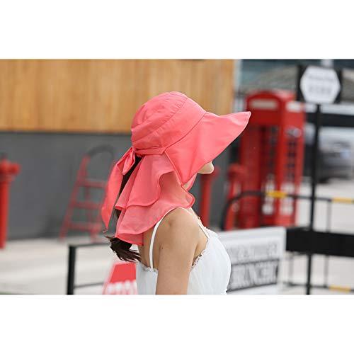 CYRYR Sonnenhüte Mit Gesicht Nackenschutz Für Frauen Breiter Krempe Sommer Visier Caps AntiWatermelon red Watermelon red (Abteilung 56-boot)