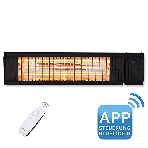 Elektrische Thermostat-bereich (VASNER Appino 20 Infrarot Heizstrahler Terrasse schwarz, 2000 Watt, Fernbedienung + App Steuerung Bluetooth, Terrassenstrahler Außenbereich, Bad, Infrarotstrahler, elektrisch)