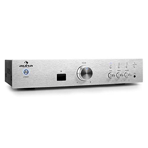 auna AV2-CD508BT • HiFi Audio-Verstärker • Heimkino-Verstärker • Musik Anlage • Stereo-Verstärker • 600 Watt max. Leistung • Bluetooth-Schnittstelle • Aux-In • 3 x Stereo-Cinch-Line-Eingang • Fernbedienung • massive Edelstahl-Frontblende • silber
