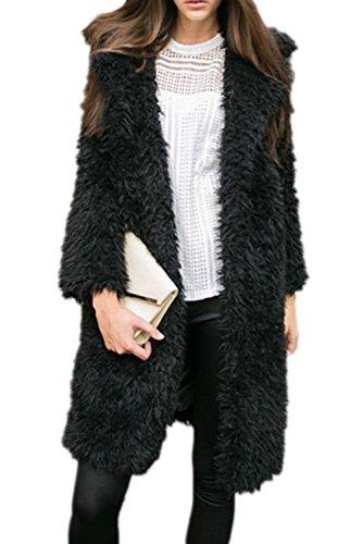 Les Femmes Élégantes Bouton De Manches Longues Parkas De Poilu Outcoat Revers Cou Black