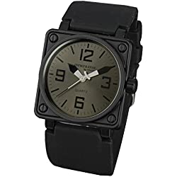 INFANTRY® Mens Quartz Wrist Watch Sport Square Black Large Rubber Strap INFILTRATOR