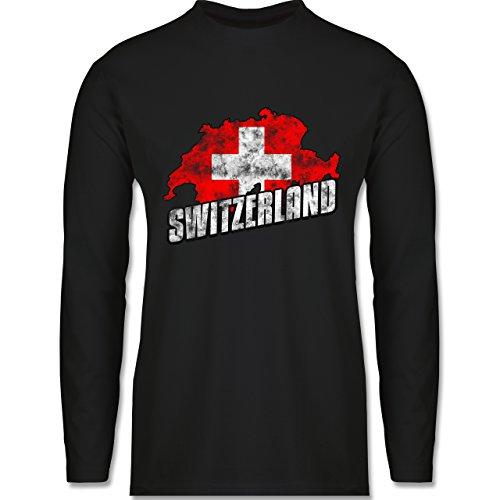 Shirtracer Fußball-WM 2018 - Russland - Switzerland Umriss Vintage - Herren Langarmshirt Schwarz