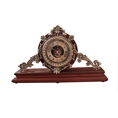 Stil Stand Sitzen (Auf dem neusten Stand Uhr Chinesischen Stil Massivholz Sitz Wohnzimmer Schlafzimmer Große Metall Stille Uhr Familienuhr (Size : 10+45+27cm))
