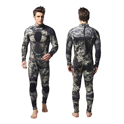 Movigor Herren Taucheranzug Einteiliges Langer Neopren Neoprenanzug All-in-One Langarm Badeanzug zum Tauchen, Schnorcheln,Schwimmen,Surfen,Strand,Wassersport (Tarnung, L)