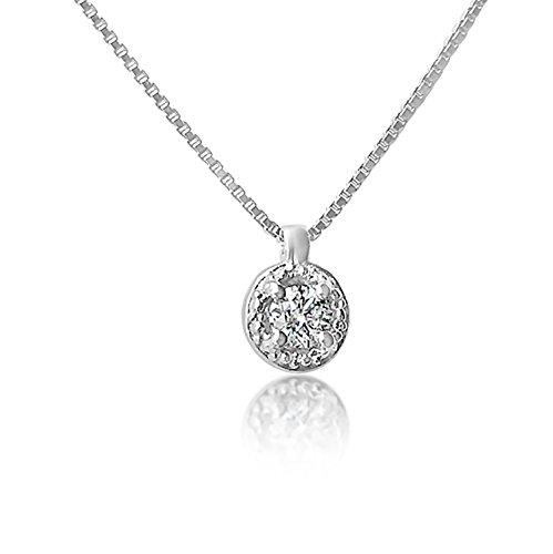 Collana con Ciondolo Oro e Diamanti Oro Bianco 9Kt 375 Diamanti 0.04Carati-Catena a maglia 42cm Clicca su MILLE AMORI blu e scopri tutte le nostre collezioni