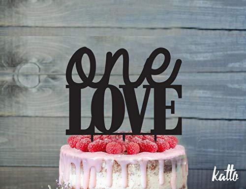 (Tortenaufsatz Love Happy Anniversary, 50th Anniversary, rustikaler Tortenaufsatz aus Holz zum 1. Jahrestag, Kuchendekoration, Tortendekoration)