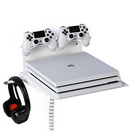 Borangame Soporte de Pared para Playstation 4 Normal / PS4 Pro / PS4 Slim Y Xbox 360 / One/One S/One X - Base Horizontal, Metálico con Ventilador Silencioso y Soporte para Mandos y Auriculares