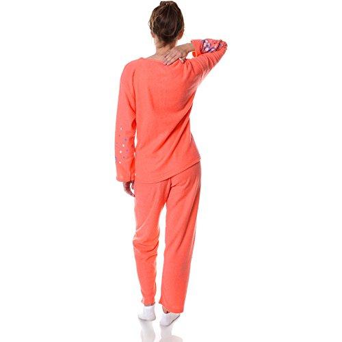 Damen Pyjama Nachthemd Nachtwäsche Schlafanzug Set Langarm 21695 Rot