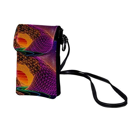 Xingruyun Neon Frauen leichte Mini Leder kleine Umhängetaschen Brillenbeutel Kartenpaket Reisetaschen Handy Geldbörse Brieftasche 19x12x2cm