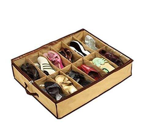 Romote negocio grande 12 pares ordenados de zapatos debajo de la cama Tela organizador del almacenaje...