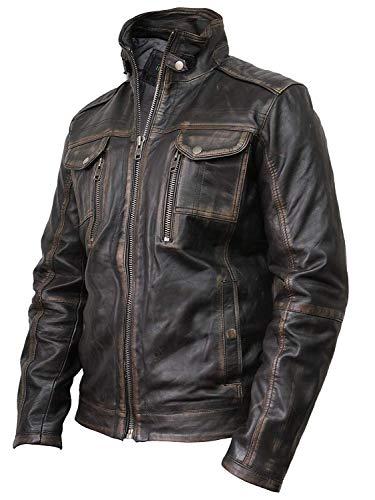 Vintage schwarze Herren Bikerjacke aus Leder (Large) - 3