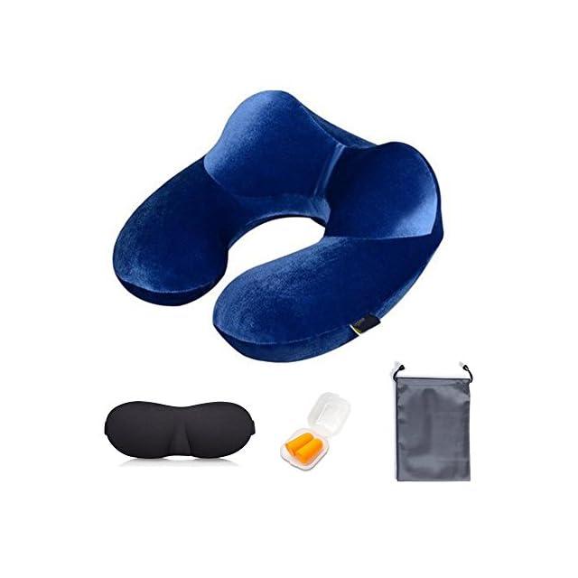 Yugee®Oreiller de voyage,tour de cou gonflable,coussin de voyage, ergonomique,doux,soutien-compact&léger pour avion,voiture et train,masque de Sommeil+bouchons d'oreille+proche de rangement donnés