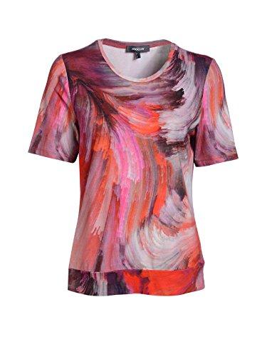 Mocca by J.L. Damen Shirt mit breitem Bündchen & Druck Rot
