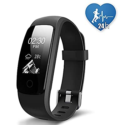 JoyGeek Fitness Tracker, Heart Rate Monitor Smart Bracelet Bluetooth 4.0 Waterproof Smart Watch with Pedometer Calorie Counter Sleep Monitor Guided Breathing Weather Report Music Control GPS Sports and Call/SMS Reminder for iPhone X/8/8 plus/7/7 plus And