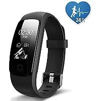 JoyGeek - Smart watch, fitness tracker, cardiofrequenzimetro, Bluetooth 4.0, impermeabile, pedometro, contacalorie, monitoraggio del sonno, respirazione guidata, previsioni meteo, controllo musicale, GPS per attività sportiva, promemoria chiamate/SMS, per iPhone 6/6 Plus/7/7 Plus e smartphone Android Samsung S7/Note 7/S8 (nero)