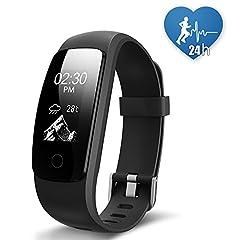 Idea Regalo - JoyGeek - Smart watch, fitness tracker, cardiofrequenzimetro, Bluetooth 4.0, impermeabile, pedometro, contacalorie, monitoraggio del sonno, respirazione guidata, previsioni meteo, controllo musicale, GPS per attività sportiva, promemoria chiamate/SMS, per iPhone 6/6 Plus/7/7 Plus e smartphone Android Samsung S7/Note 7/S8 (nero)