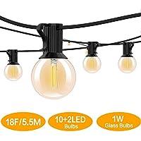 BRTLX Guirnalda Exterior Luminosas,18.3ft G40 Cadena de Luces LED con 12 Bombillas(2 Bomnillas de Reemplazo) Perfecto Para Patios,Jardines,Café,Cobertizos,Bodas,Pérgolas