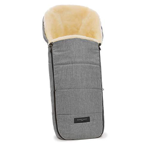 WERNER CHRIST BABY Lammfell-Fußsack FLIMS - kuscheliger Buggy-, Kinderwagen-Fußsack, aus medizinischem Fell, universal, in grigio