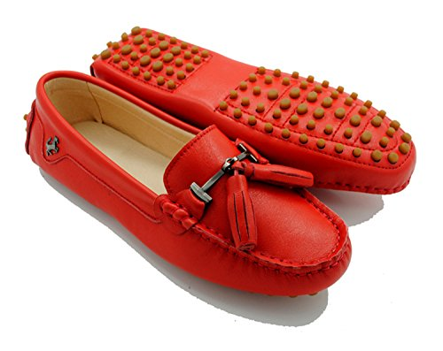 Minitoo ,  Damen Durchgängies Plateau Sandalen mit Keilabsatz Leather-Red