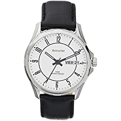 Accurist Mens Black Leather Strap Watch With Day And Date Display MS990W