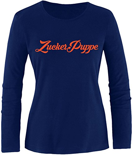 EZYshirt® Zuckerpuppe Damen Longsleeve Navy/Orange