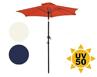 Ondis24 Strandschirm 1,8 Meter Sonnenschutz Sonnenschirm 180 cm rund mit Kurbel, Knick-Gelenk, UV 50 von Ondis24 auf Gartenmöbel von Du und Dein Garten