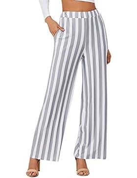DAYLIN Pantalones Anchos Mujer Casual Moda Pantalones a Rayas para Verano, Otoño