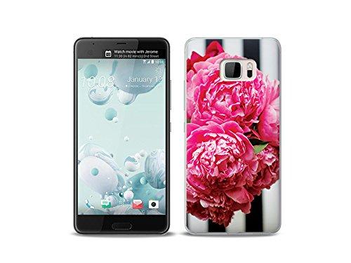 etuo HTC U Ultra Handyhülle Schutzhülle Etui Hülle Case Cover Tasche für Handy Foto Case - Rosa Blumen