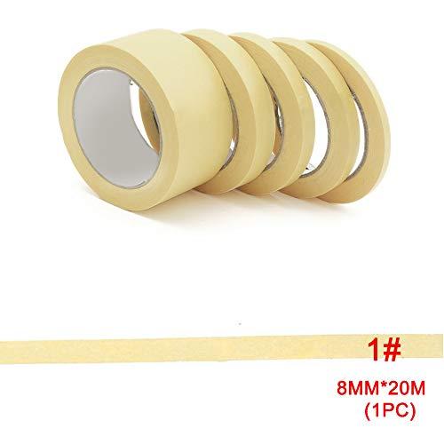 GEZICHTA Maler-Kreppband, 8 mm/10 mm/12 mm/18 mm/30 mm Abdeckband, Modellfarbe, Spray, Gelb, Abdeckband für Temperatur, Auto-Lack, Dekoration, Malerband, gelb, 8 * 20mm