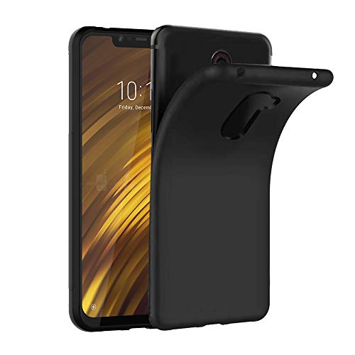 Ferilinso Hülle für Xiaomi Pocophone F1, Ultra [Slim Thin] Kratzfestes TPU Gummi Weiche Haut Silikon Fall Schutzhülle für Xiaomi Pocophone F1 (Schwarz)