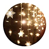 Lianqi 3.5M 96LED snowflake Curtain Lights, Christmas Tree Style Curtain Lights,9 Modes,Linkable Design, LED Icicle Lights for Christmas/Wedding/Party/New Year Decorations