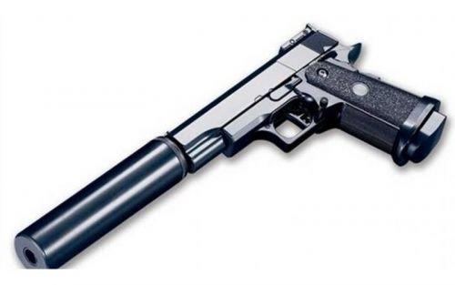 Preisvergleich Produktbild Luftpistole mit Schalldämpfer,  Federdruck,  10 Schuss,  6 mm kaliber