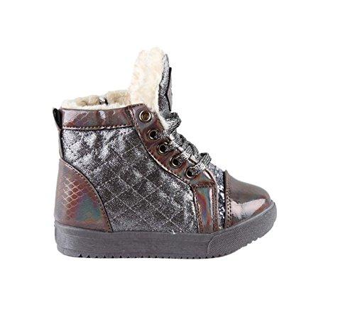 Chaussures montante intérieur fourré - fille Gris