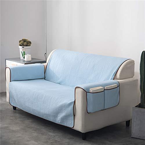 L&RZ Deluxe Reversible Möbel Protektor mit Aufbewahrungs-Taschen, wasserbeständige Anti-Slip-Couch-Abdeckung für Hundeschützen,SkyBlue,53 * 183cm
