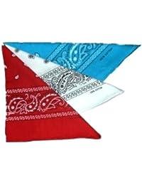 Lot de 3 foulard bandana américain tour de cou paisley USA - Rouge + Blanc + Turquoise - Country Cowboy Moto Hip Hop Tendance Outdoor