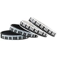 Toyvian 4pcs Brazalete Llaves de Piano Impreso Pulsera de decoración de Silicona para Mujeres Hombres (202mm y 170mm para Cada 2pcs)