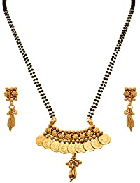 JFL - Traditional Temple Ethnic One Gram Gold Plated Goddess Laxmi Coin Mangalsutra With Black Beaded Double Chain...
