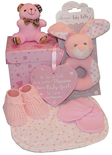 Bébé Panier 5 Pièces Set Cadeau Fête de Naissance Bébé Maternité Leave Naissance Nouveau-Né Présent Rose Bleu - Rose