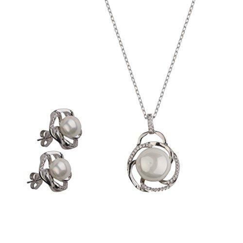 NYKKOLA Fashion Jewelry - Parure nuziale con orecchini a perno e collana, placcati in argento Sterling 925, con cristalli e perle