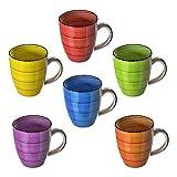 esto24 Design 6er Set Kaffeebecher Porzellan 350ml in tollen Farben für Ihr liebstes Heißgetränk für Kaffee, Cappuccino und Latte Macchiato (Bunt) - 2