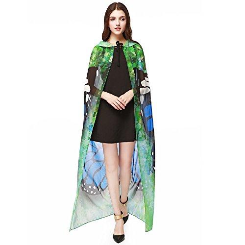 VEMOW Neue Mode Cosplay Damen Frauen Neuheit Print Chiffon Schmetterling Elegante Flügel Cape Schal Pfau Poncho Schal Wrap(Blau, 140 * 100CM)