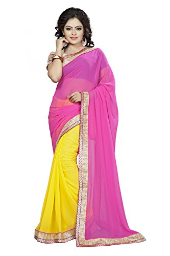 Vedant Georgette Saree With Blouse Piece (3086_Pink_Free Size)