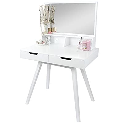 Hartleys White Modern Dressing Table & Mirror - inexpensive UK light shop.