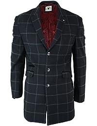 0a357c4dfb86 Herrenjacke 3 4 Länge Fischgräte Tweed Design Mantel Kariert Peaky Blinders  Wollenmischung