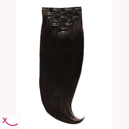 Extiff - Extensions cheveux naturel à clip - 50cm 160gr - (1A - Chatain foncé)